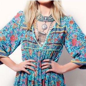 Folk Town Boho Turquoise Maxi DRESS Floral Cotton